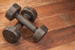 Vintage iron dumbbells Stock Images