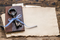 Vintage iron key, old book and secret letters Stock Images