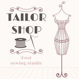 Vintage iron mannequin background with sewing icon Royalty Free Stock Photography