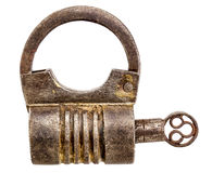 Vintage  iron padlock isolated Stock Photography