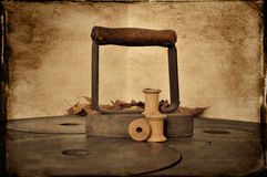 Vintage iron and spools Stock Photos