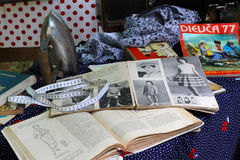 Vintage iron, textiles, old magazines and books at the retro festival in Volgograd Royalty Free Stock Images
