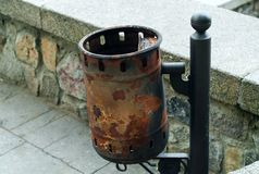 Vintage iron trash can, concept of authentic objects stock images