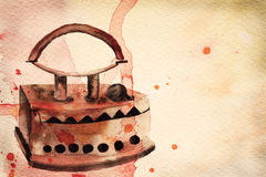 Vintage iron. Watercolor illustration Stock Image
