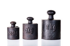 Vintage iron weights. Royalty Free Stock Image