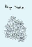 Vintage isolated chrysanthemum sketch. Stock Image