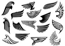 Vintage isolated heraldic wings set Royalty Free Stock Photography