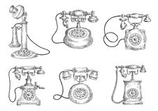 Vintage isolated rotary dial telephones sketches Royalty Free Stock Photo