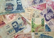 Vintage israeli money. Mix of vintage israeli money bills stock image