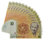 Vintage israeli money. Bills, fifty shekels with Golda Meir portrait isolated Stock Photography