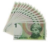 Vintage israeli money. Stacks of vintage israeli money bills isolated maimonides portrait stock image