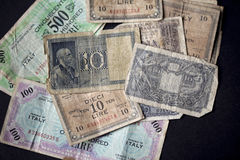Vintage italian banknotes Stock Photos