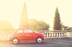 Vintage Italian car in sunbeam royalty free stock images