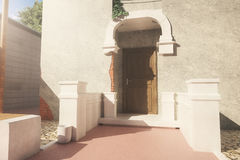 Vintage italian exterior. Nice italian exterior with sunlight. 3D Rendering Royalty Free Stock Images