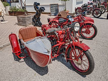 Vintage italian motorcycle Moto Guzzi with sidecar Royalty Free Stock Photos