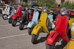 Vintage italian scooters Vespa royalty free stock photo