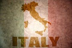 Vintage italy flag. Italy map on a vintage italian flag background Stock Photos