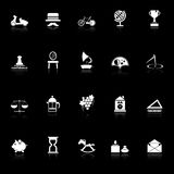 Vintage item icons with reflect on black background Royalty Free Stock Photos