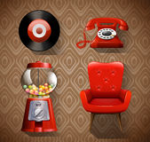 Vintage items in red color Royalty Free Stock Images