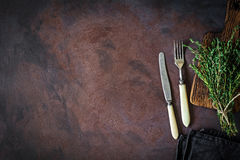 Vintage ivory cutlery on table Stock Photography