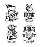 Vintage jaguar, wolf, eagle and owl bikers club t-shirt vector isolated logo set. Premium quality motor band logotype tee-shirt emblem illustration. Wild vector illustration