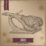 Vintage jamon template placed on old paper background. Royalty Free Stock Images