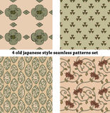 Vintage Japan-style Seamless Patterns set Royalty Free Stock Photos