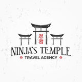 Vintage Japan temple Logo. Ninja insignia badge design. Martial art Team t-shirt illustration concept on grunge Royalty Free Stock Photos