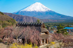 Vintage Japanease style house and Mt. Fuji. Stock Photography