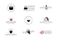 Vintage japanese food and sushi logo, emblems, labels and badges and other branding objects. Wasabi, soy, sauce, rolls. Vintage logo, emblems, labels and badges Royalty Free Stock Photography