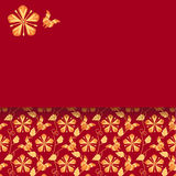 Vintage Japanese kimono pattern horizontal card Royalty Free Stock Images