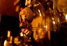 Vintage japanese wooden doll with kimono stock image