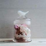 Vintage jar of marshmallow on a gray background Stock Photo