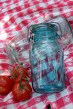 Vintage Jars Antique Table Cloth Royalty Free Stock Images