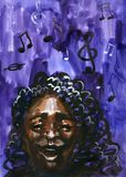 Vintage jazz woman singing. Black african american. Watercolor illustration. stock illustration