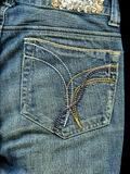 Vintage jean pocket with pattern Stock Photo