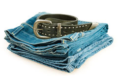 Vintage jeans and leather belt Stock Images