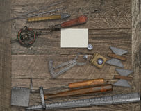 Vintage jeweler tools and business card Stock Photo