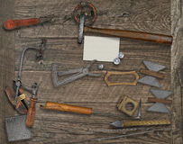 Vintage jeweler tools and business card Stock Photography