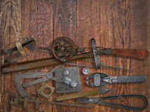 Vintage jeweler tools and diamonds Royalty Free Stock Image