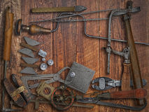 Vintage jeweler tools and diamonds Royalty Free Stock Photo