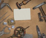 Vintage jeweler tools and diamonds Stock Images