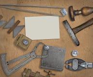 Vintage jeweler tools and diamonds Royalty Free Stock Image