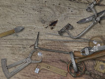Vintage jeweler tools over wooden bench Stock Image