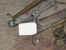 Vintage jeweler tools over wooden bench Royalty Free Stock Photo
