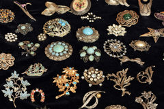 Vintage Jewellery on Black Royalty Free Stock Images