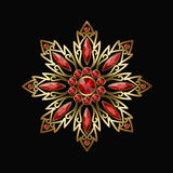 Vintage jewellery with red jewels Royalty Free Stock Photos