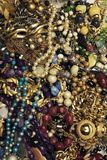 Vintage jewelries group. Close-up shot of vintage jewelries collection showing shapes, colors and textures stock image