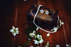 Vintage jewelry in antique wooden jewelry box Royalty Free Stock Photos