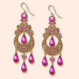 Vintage jewelry earrings with pink precious ston. Illustration of vintage jewelry earrings with pink precious stone Royalty Free Stock Images